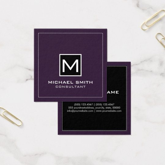 Monogram Elegant Modern Black Dark Purple Square Business Card