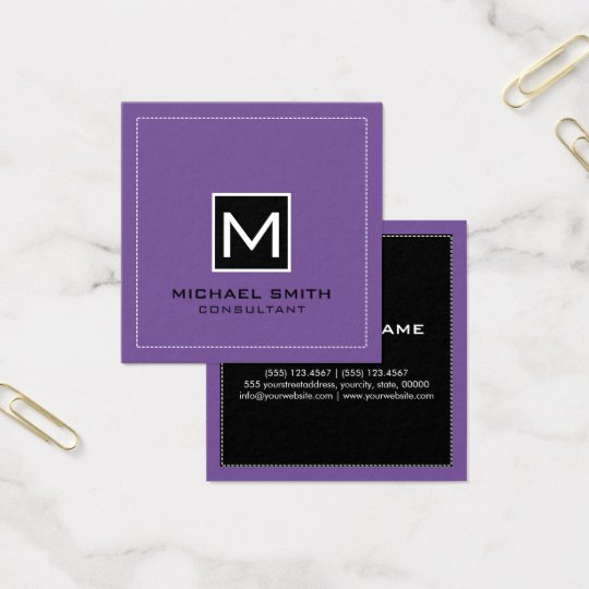 Monogram Elegant Modern Black Lavender Square Business Card