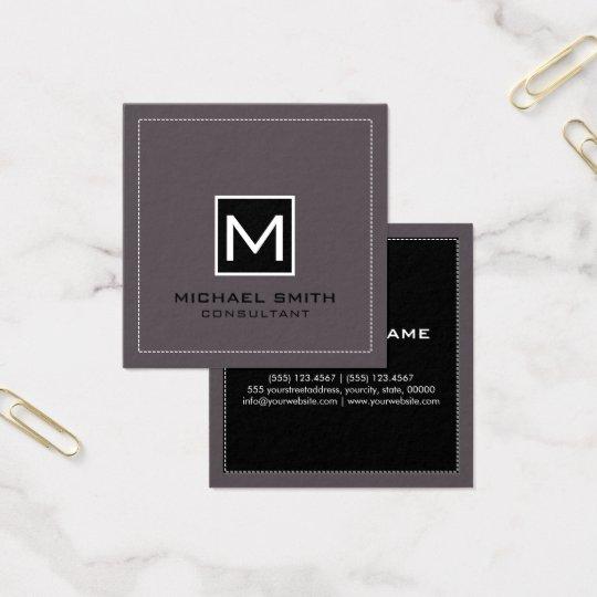Monogram Elegant Modern Black Liver Square Business Card