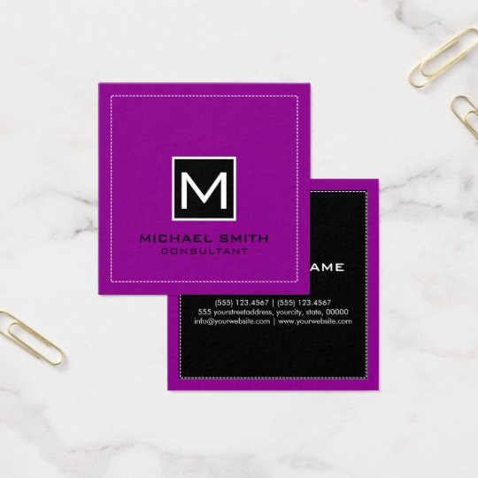 Monogram Elegant Modern Black Magenta Square Business Card