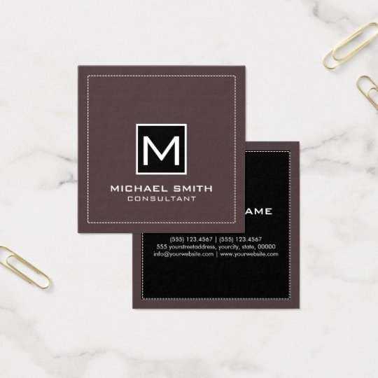 Monogram Elegant Modern Black Puce Square Business Card