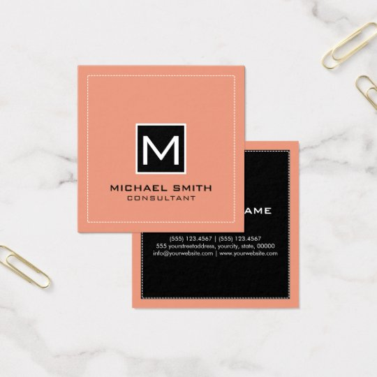 Monogram Elegant Modern Black Salmon Square Business Card