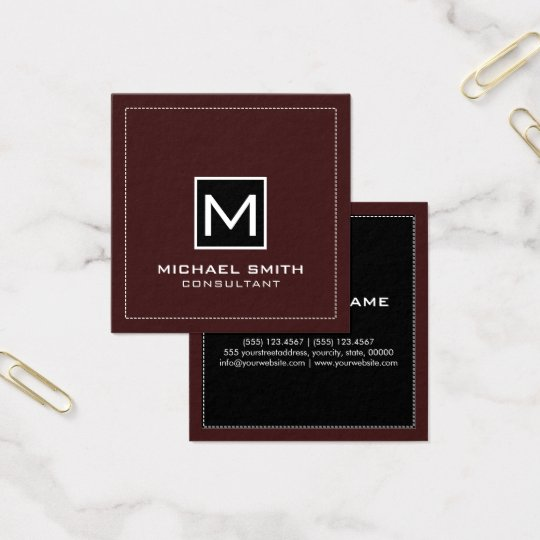 Monogram Elegant Modern Black Sienna Square Business Card