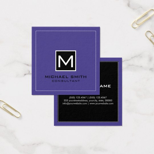 Monogram Elegant Modern Black Slate Blue Square Business Card