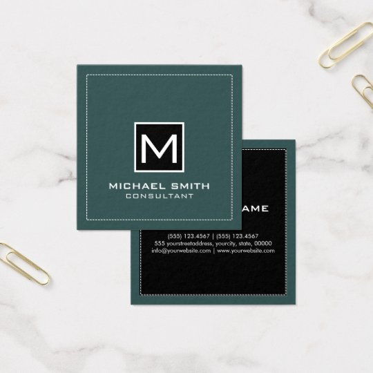 Monogram Elegant Modern Black Slate Square Business Card
