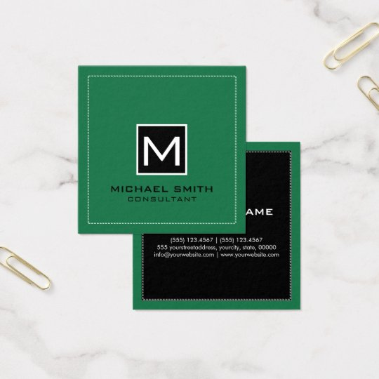 Monogram Elegant Modern Black Spring Green Square Business Card