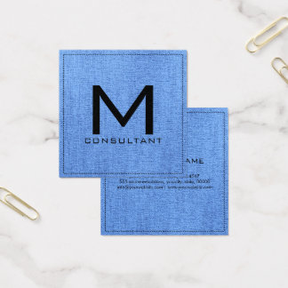 Monogram Elegant Modern Blue Jeans Canvas Square Business Card