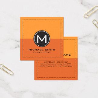 Monogram Elegant Modern Carrot Orange and Saffron Square Business Card