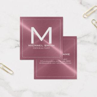 Monogram Elegant Modern Copper Stainless Metal Square Business Card