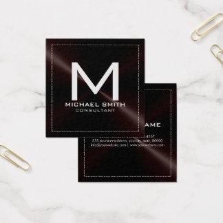 Monogram Elegant Modern Dark Stainless Metal Square Business Card