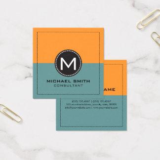 Monogram Elegant Modern Desaturated and Saffron Square Business Card