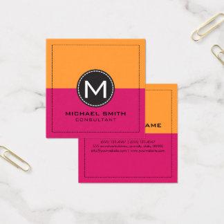 Monogram Elegant Modern Dogwood Rose and Saffron Square Business Card
