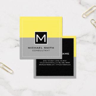Monogram Elegant Modern Gray Corn Square Business Card