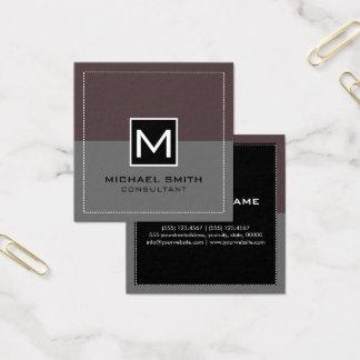 Monogram Elegant Modern Gray Puce Square Business Card