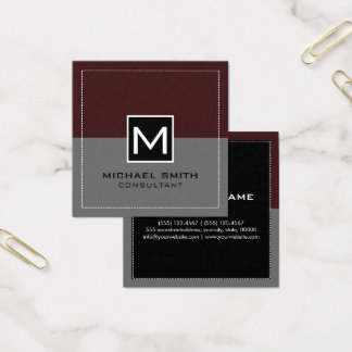 Monogram Elegant Modern Gray Sienna Square Business Card