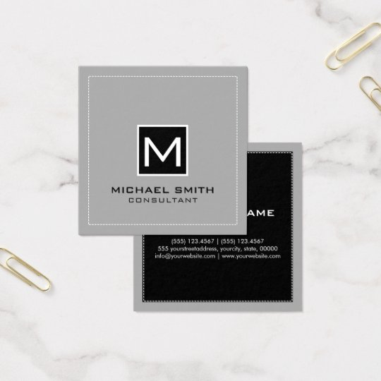 Monogram Elegant Modern Grey Black Square Business Card