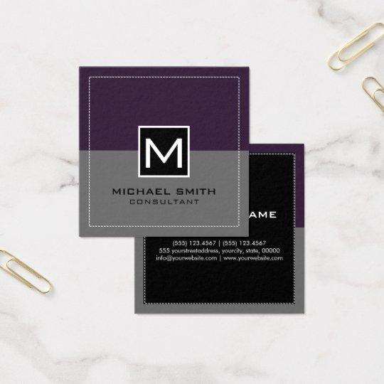 Monogram Elegant Modern Grey Dark Purple Square Business Card
