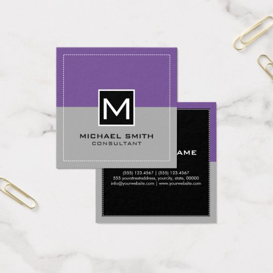 Monogram Elegant Modern Grey Lavender Square Business Card