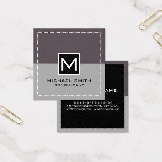 Monogram Elegant Modern Grey Liver Square Business Card