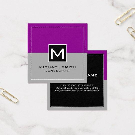 Monogram Elegant Modern Grey Magenta Square Business Card