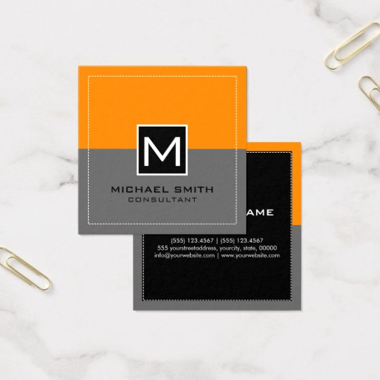 Monogram Elegant Modern Grey Orange Square Business Card
