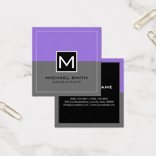 Monogram Elegant Modern Grey Pastel Purple Square Business Card