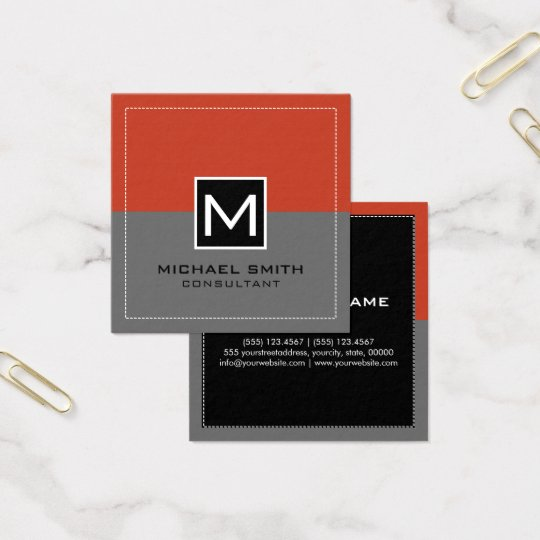 Monogram Elegant Modern Grey Pastel Red Square Business Card
