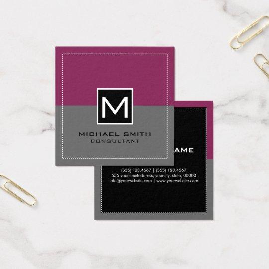 Monogram Elegant Modern Grey Raspberry Square Business Card