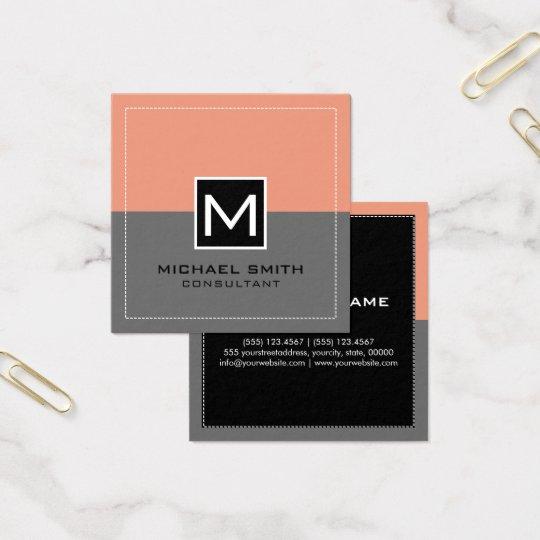 Monogram Elegant Modern Grey Salmon Square Business Card