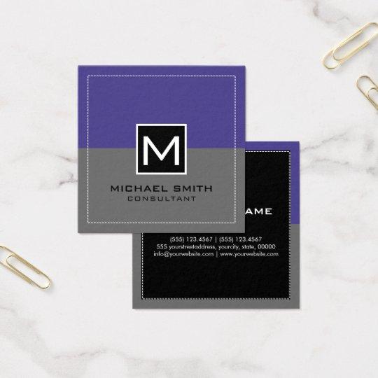 Monogram Elegant Modern Grey Slate Blue Square Business Card