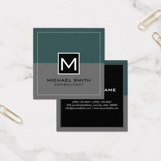 Monogram Elegant Modern Grey Slate Square Business Card