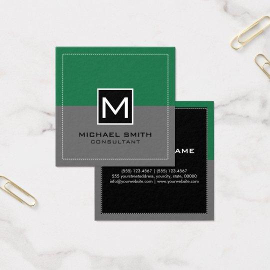 Monogram Elegant Modern Grey Spring Green Square Business Card