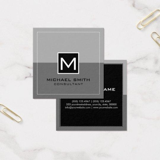 Monogram Elegant Modern Grey Square Business Card