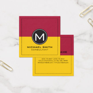 Monogram Elegant Modern Lemon and Carmine Square Business Card
