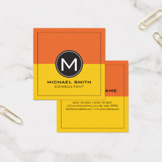 Monogram Elegant Modern Lemon and Carrot Orange Square Business Card