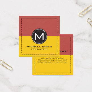 Monogram Elegant Modern Lemon and Deep Chestnut Square Business Card