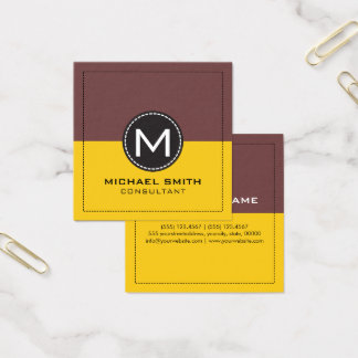 Monogram Elegant Modern Lemon and Deep Coffee Square Business Card