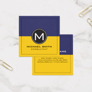 Monogram Elegant Modern Lemon and Koamaru Square Business Card