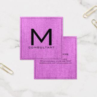 Monogram Elegant Modern Orchid Canvas Square Business Card