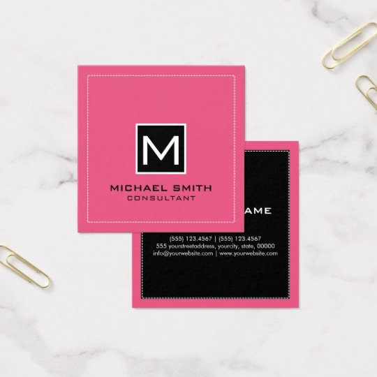 Monogram Elegant Modern Pink Black Square Business Card