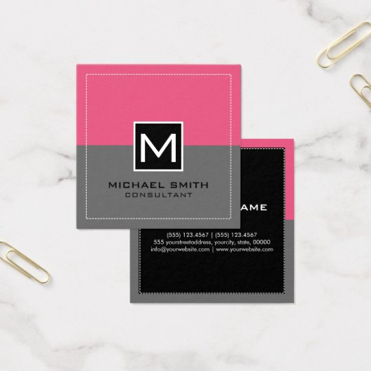 Monogram Elegant Modern Pink Grey Square Business Card