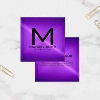 Monogram Elegant Modern Purple Stainless Metal Square Business Card