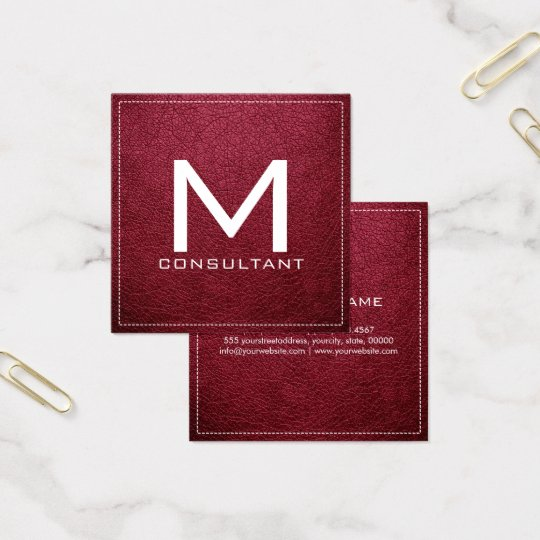 Monogram Elegant Modern Ruby Leather Square Business Card