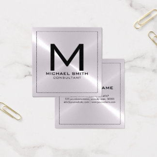 Monogram Elegant Modern Silver Stainless Metal Square Business Card