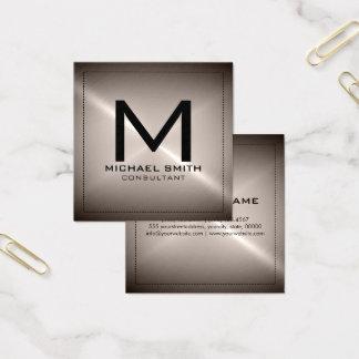 Monogram Elegant Modern Stainless Metal Square Business Card