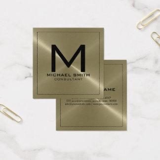 Monogram Elegant Modern Tan Stainless Metal Square Business Card