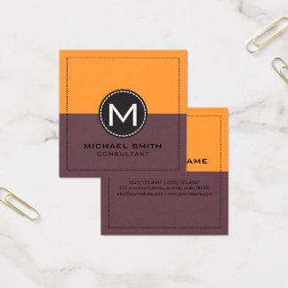 Monogram Elegant Modern Tuscan Red and Saffron Square Business Card