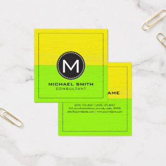 Monogram Elegant Modern Yellow and Lime Square Business Card