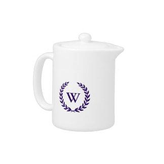 Monogram Elegant Navy Blue White Classic Teapot