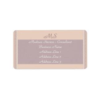 Monogram Elegant Peach Mauve Address Label